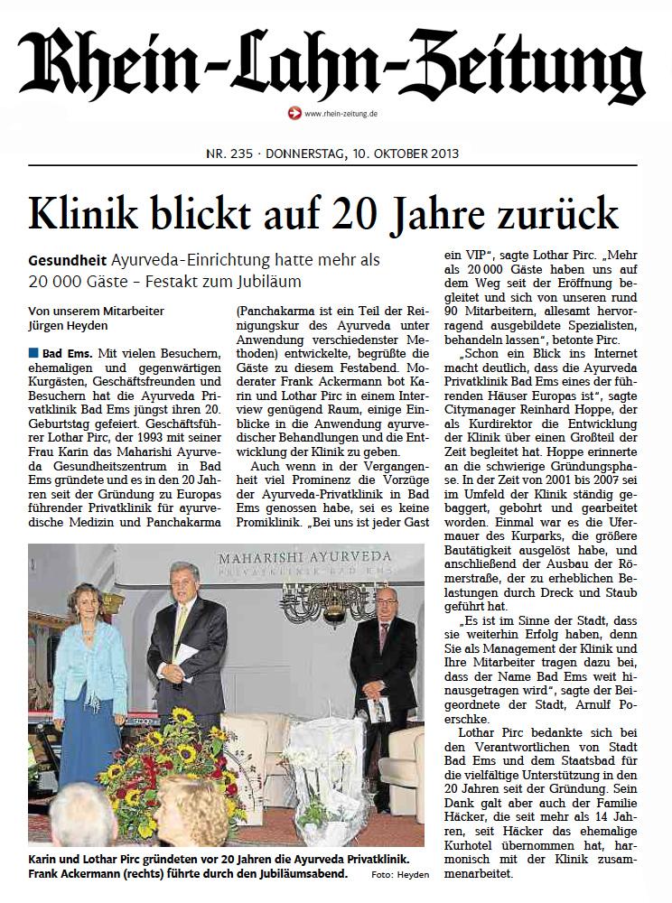 In der Rhein-Lahn-Zeitung erschien dieser Beitrag zum Jubiläum der Klinik